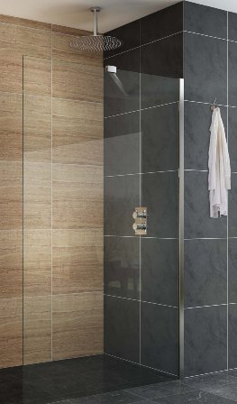 KIRBY SEBASTIAN BERLIN POLISHED ALUMINIUM 1 PANEL WETROOM/WALK-IN SCREEN 1000mm, BER1000WR